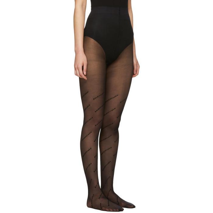 2545f9ee651b3 Balenciaga Black Logo Tights in Black - Lyst