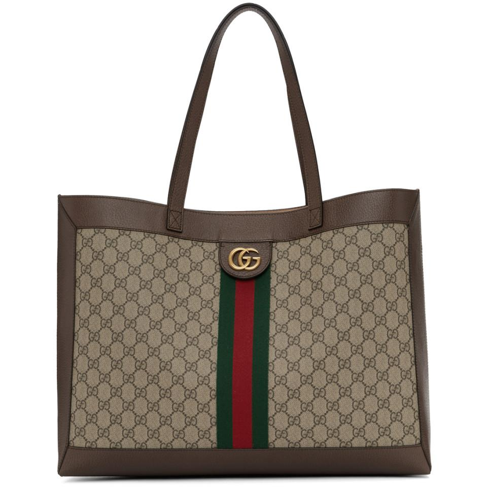 105bcff18c8 Lyst - Gucci Brown GG Ophidia Tote in Natural