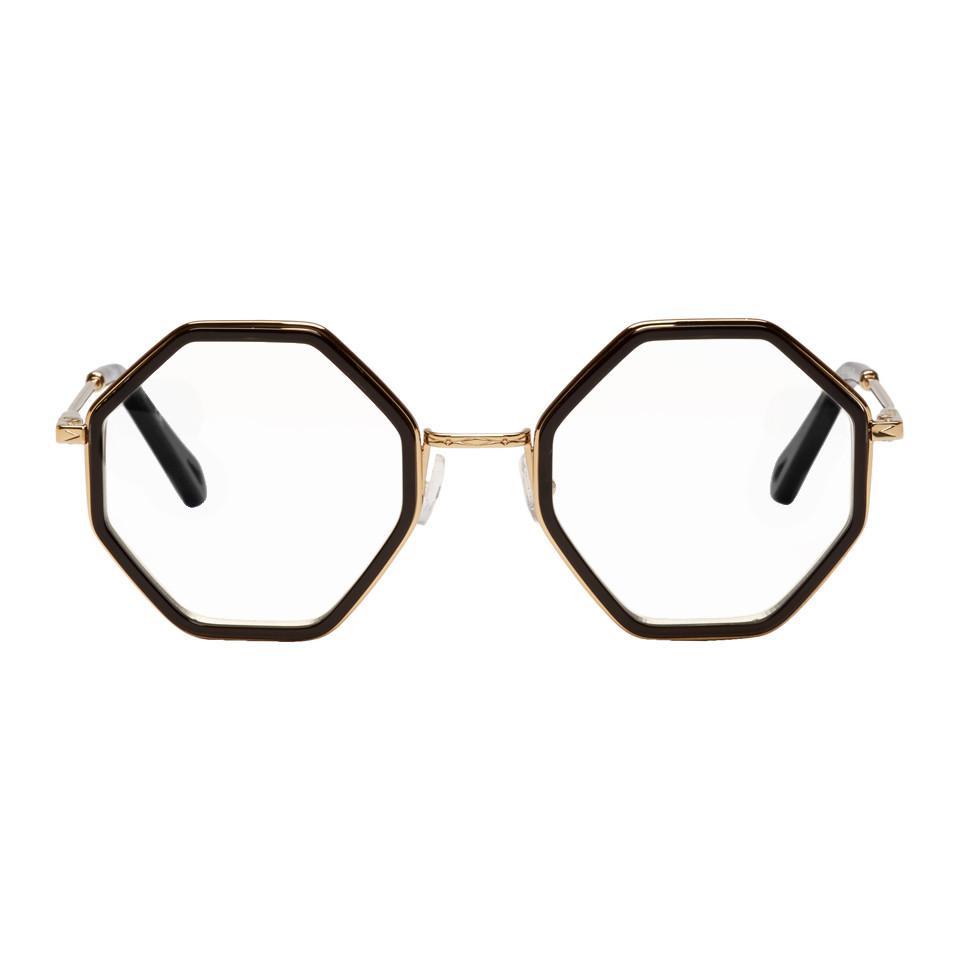 e8608aaa042 Lyst chloé gold and black hexagon glasses jpg 960x960 Chloe gold optical  frame