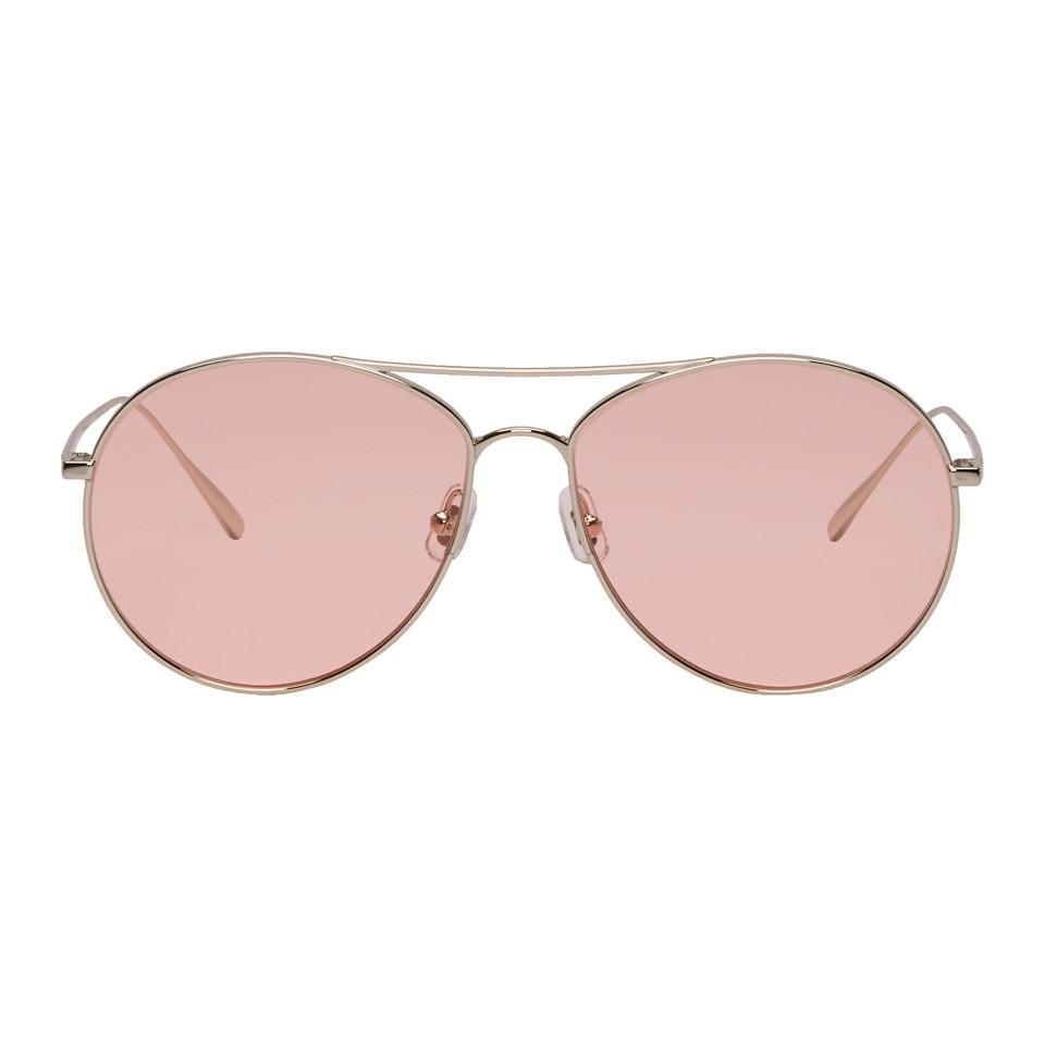 Silver and Pink Ranny Ring Aviator Sunglasses Gentle Monster IcfHOtZG