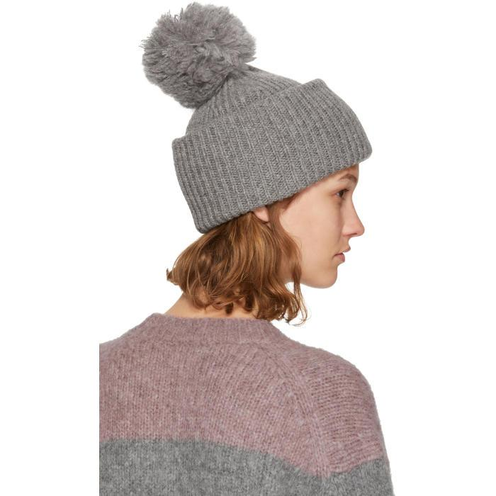80bac6152f1 Lyst - Acne Studios Grey Solia Pom Pom Beanie in Gray