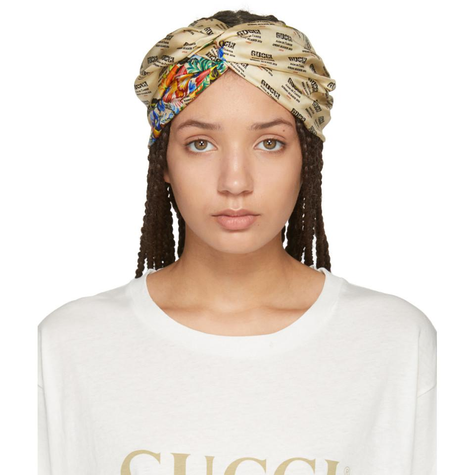 ab0b517d3a2 Lyst - Gucci Ivory Logo Stamp Headband in White