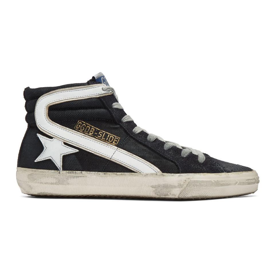 2907374f33477 Golden Goose Deluxe Brand. Men s Blue Navy Denim Slide High-top Sneakers