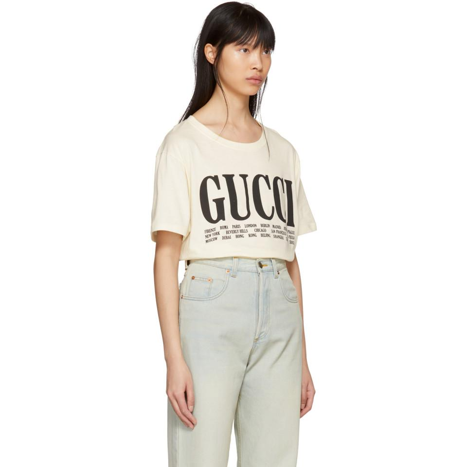 c519e775848 Lyst - Gucci Off-white Cities T-shirt in White
