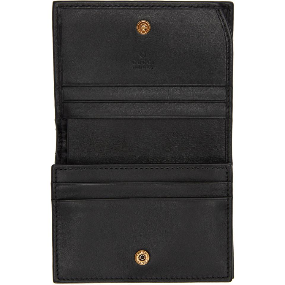 030ba224b4a17f Gucci Black Gg Marmont 2.0 Compact Wallet in Black - Lyst