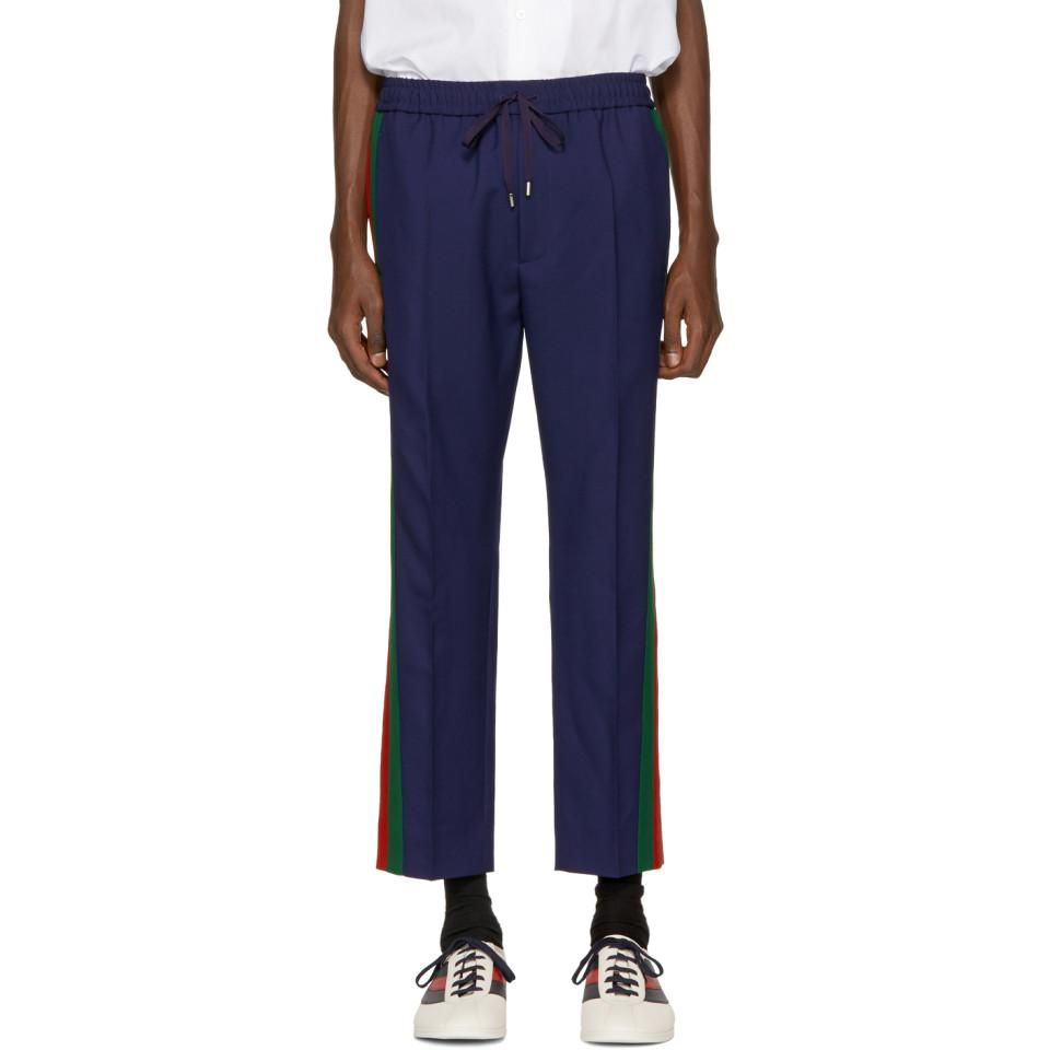 Embroidered cotton and wool trousers Gucci N9hJb