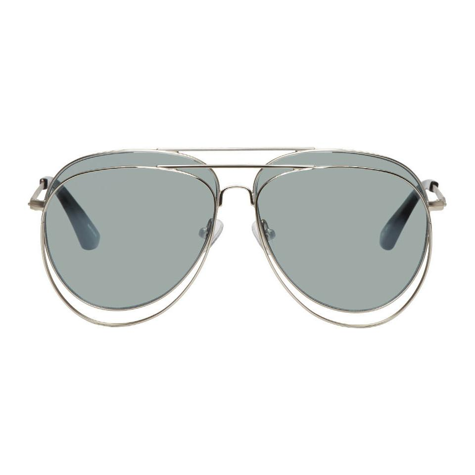 b7832fad20 Bless Silver Linda Farrow Edition Double Sunglasses in Metallic for ...