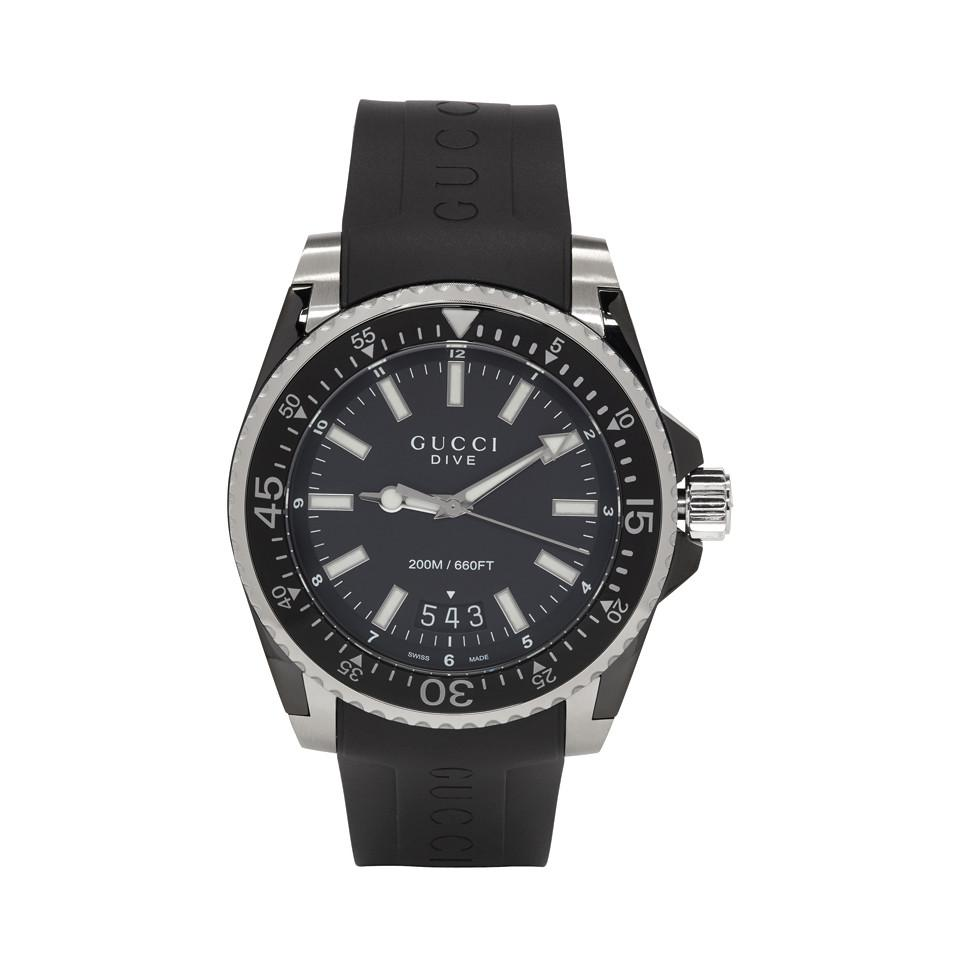 Gucci Black Rubber Xl Dive Watch In For Men Lyst Casio Edifice 543d Stainless Silver Chrono View Fullscreen