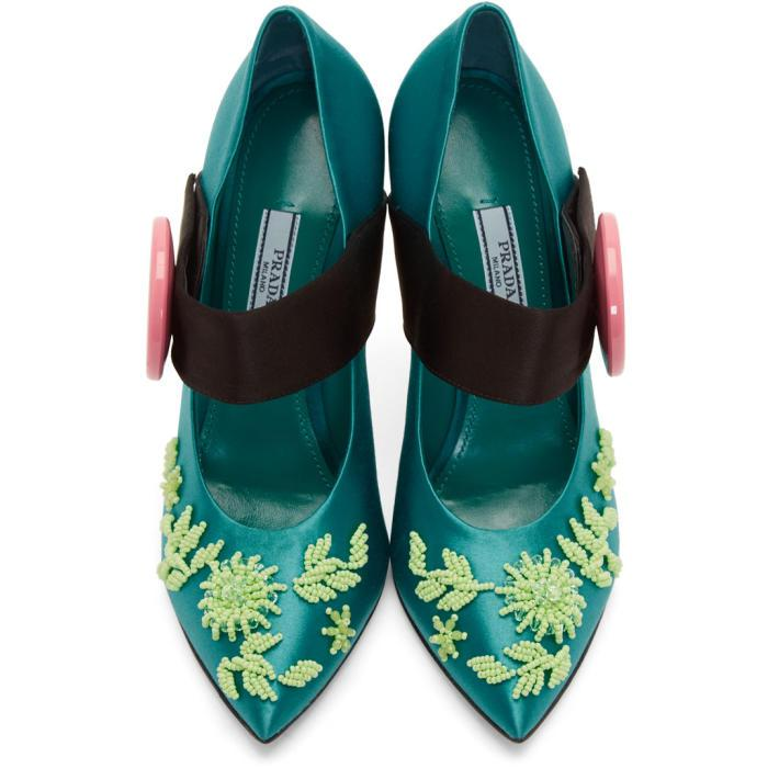 Green Beaded Button Heels Prada 9p9zAjN