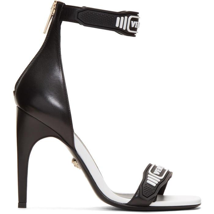 8324dca43c Versace Black & White Logo Strap Sandals in Black - Lyst