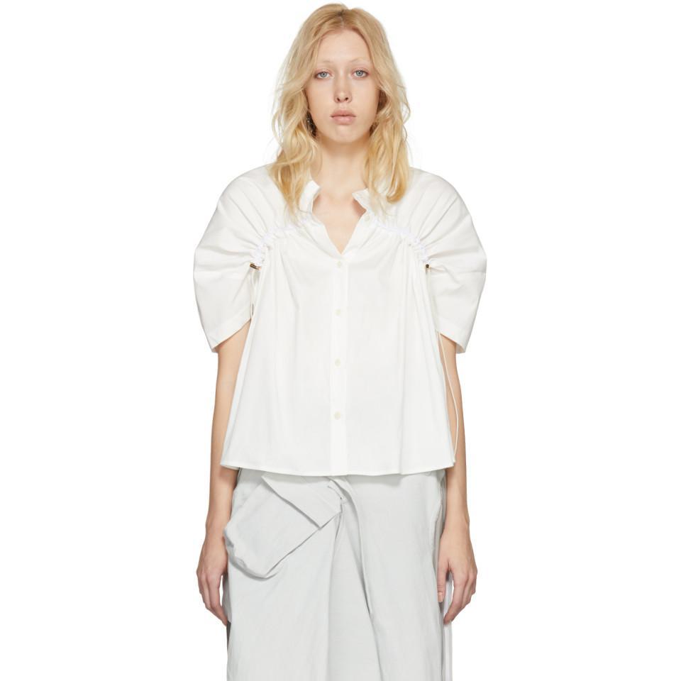 Lyst Ovelia Transtoto White Gathered Crop Shirt in White