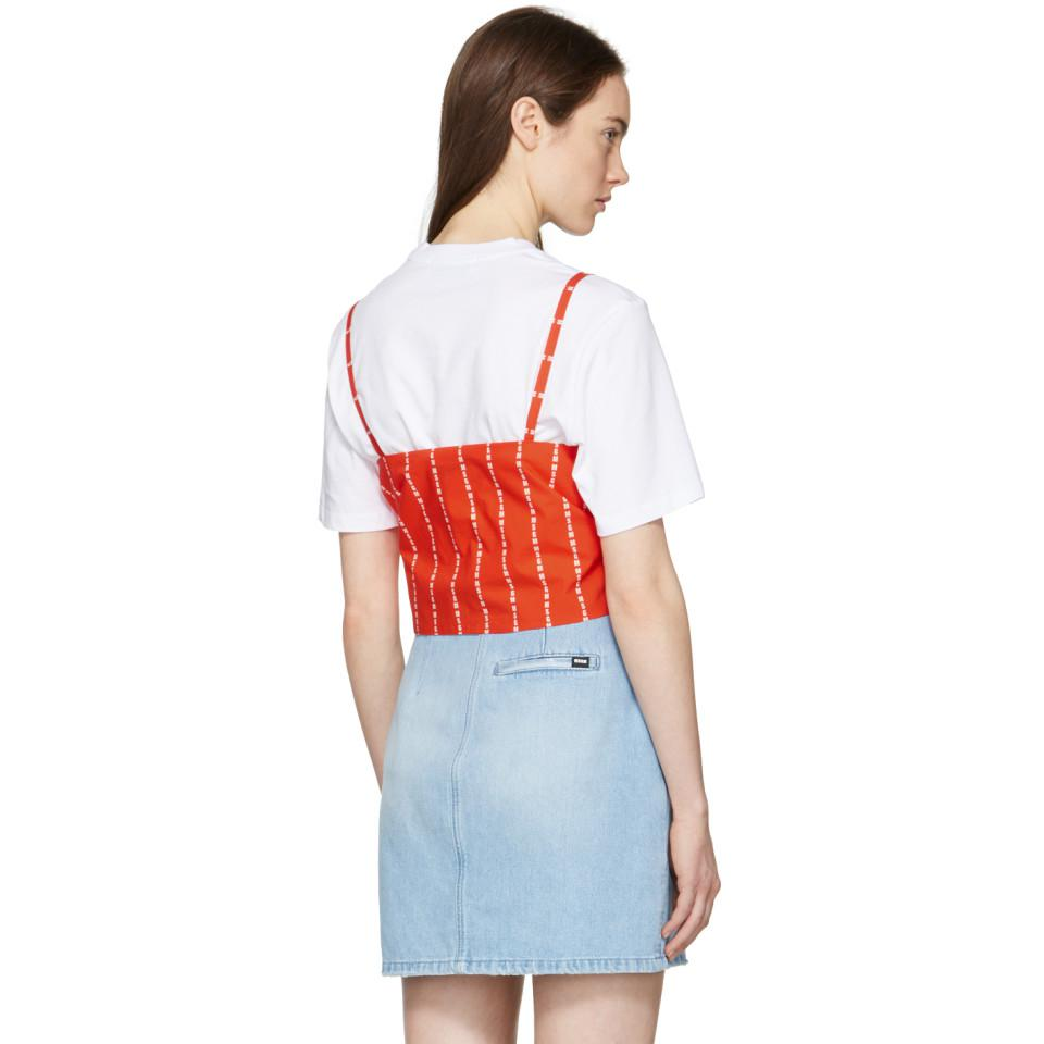 Cheap Discounts Official Site Cheap Online White and Red Logo Stripe Bow T-Shirt Msgm Clearance Vwx7NGgd
