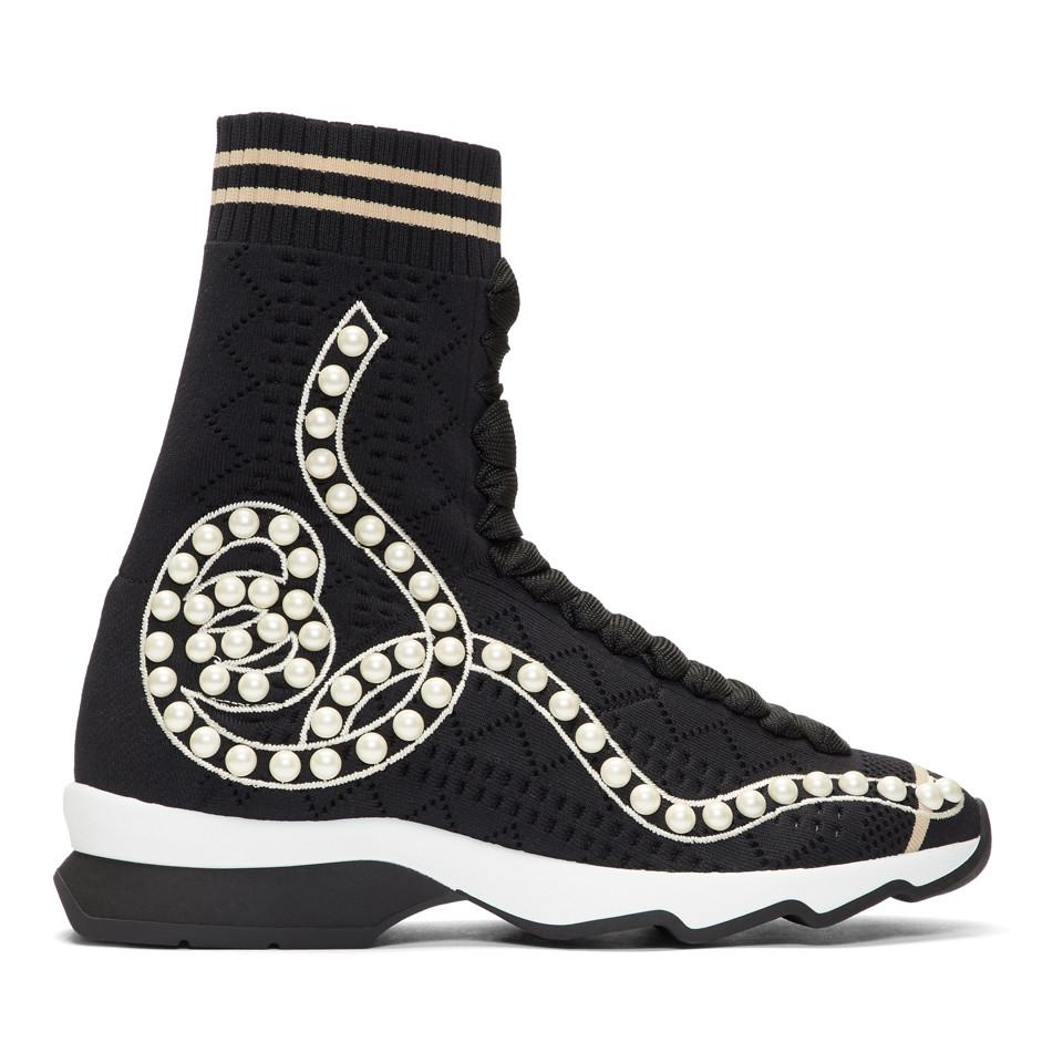 Fendi Pearl Sock High-Top Sneakers eZtvEIE