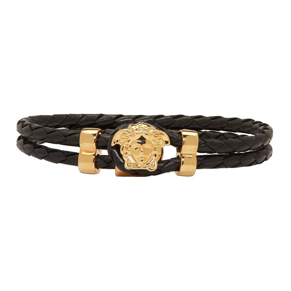 51ab5438355b Lyst - Bracelet en cuir noir Medusa Versace pour homme en coloris Noir
