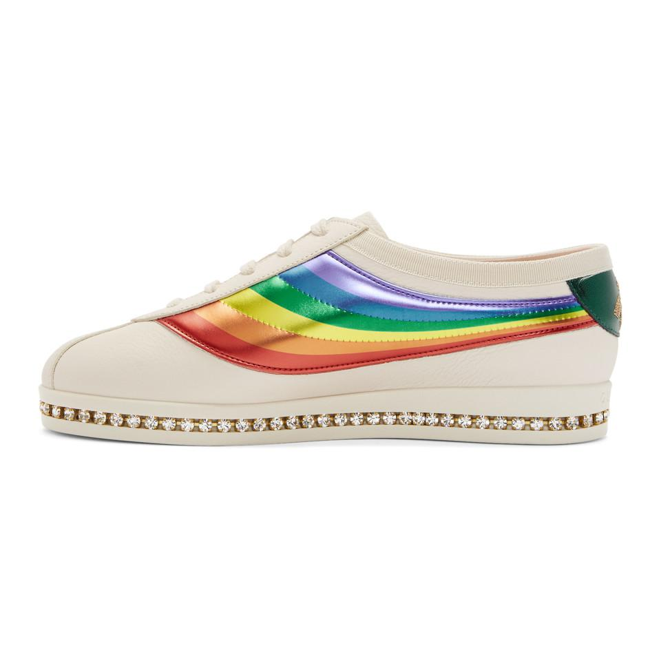 Gucci Crystal Falacer Rainbow Sneakers