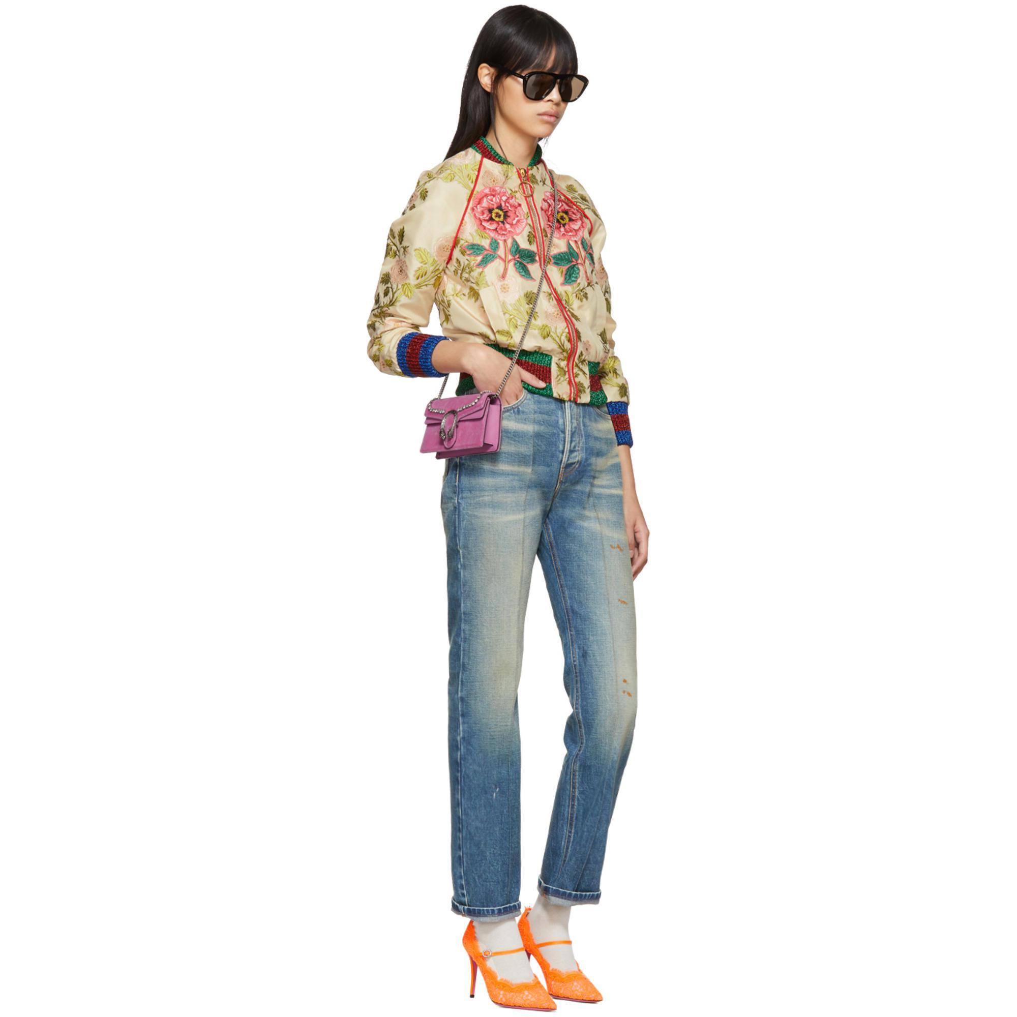 12c385e8b26 Lyst - Gucci Pink Velvet Super Mini Dionysus Bag in Pink