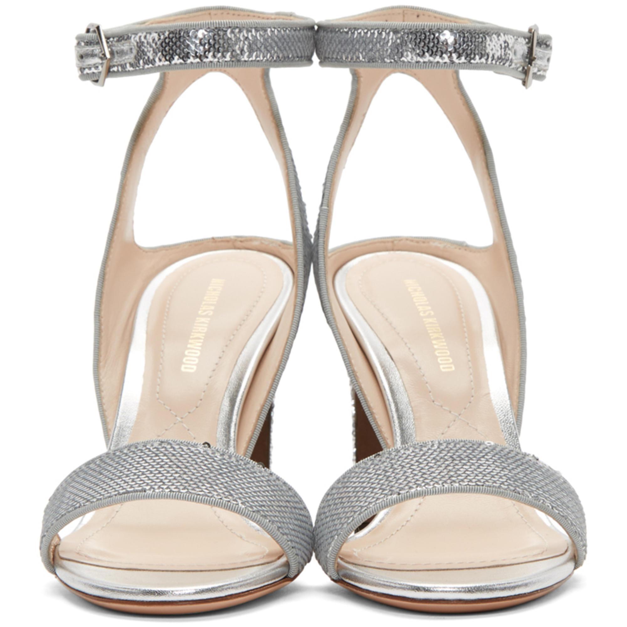 f622b96f419 Lyst - Nicholas Kirkwood Silver Sequin Lola Pearl Sandals in Metallic