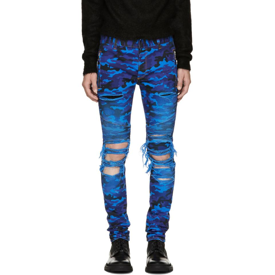 Prices Cheap Online Blue Camo Destroy Slim Jeans Balmain Clearance Exclusive Where To Buy Fake Cheap Online dXZN1U0