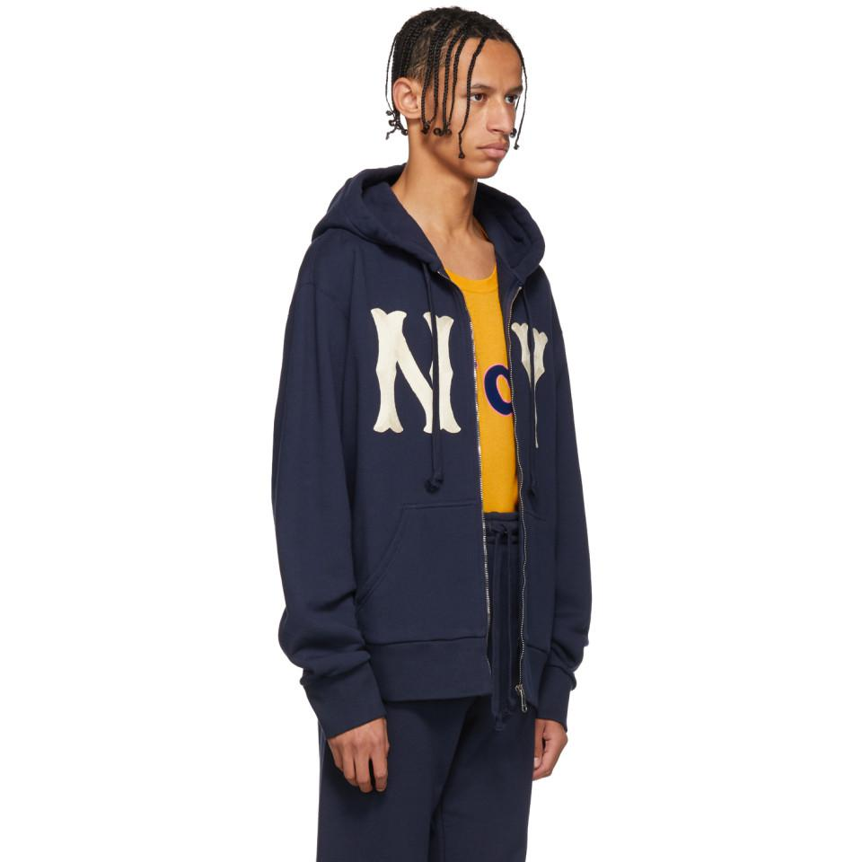626078e4bfa Lyst - Gucci Navy Ny Yankees Edition Patch Zip Hoodie in Blue for Men