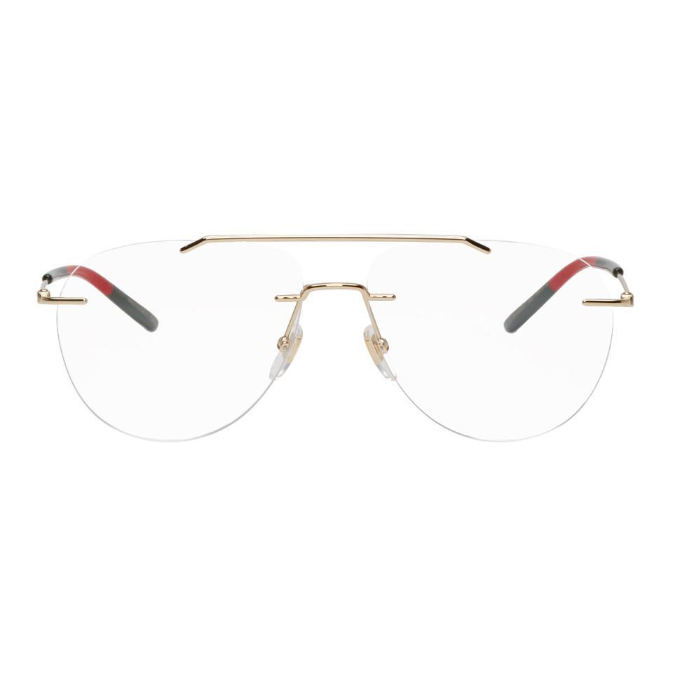 ab1c8888bff Gucci. Women s Gold Rimless Pilot Glasses