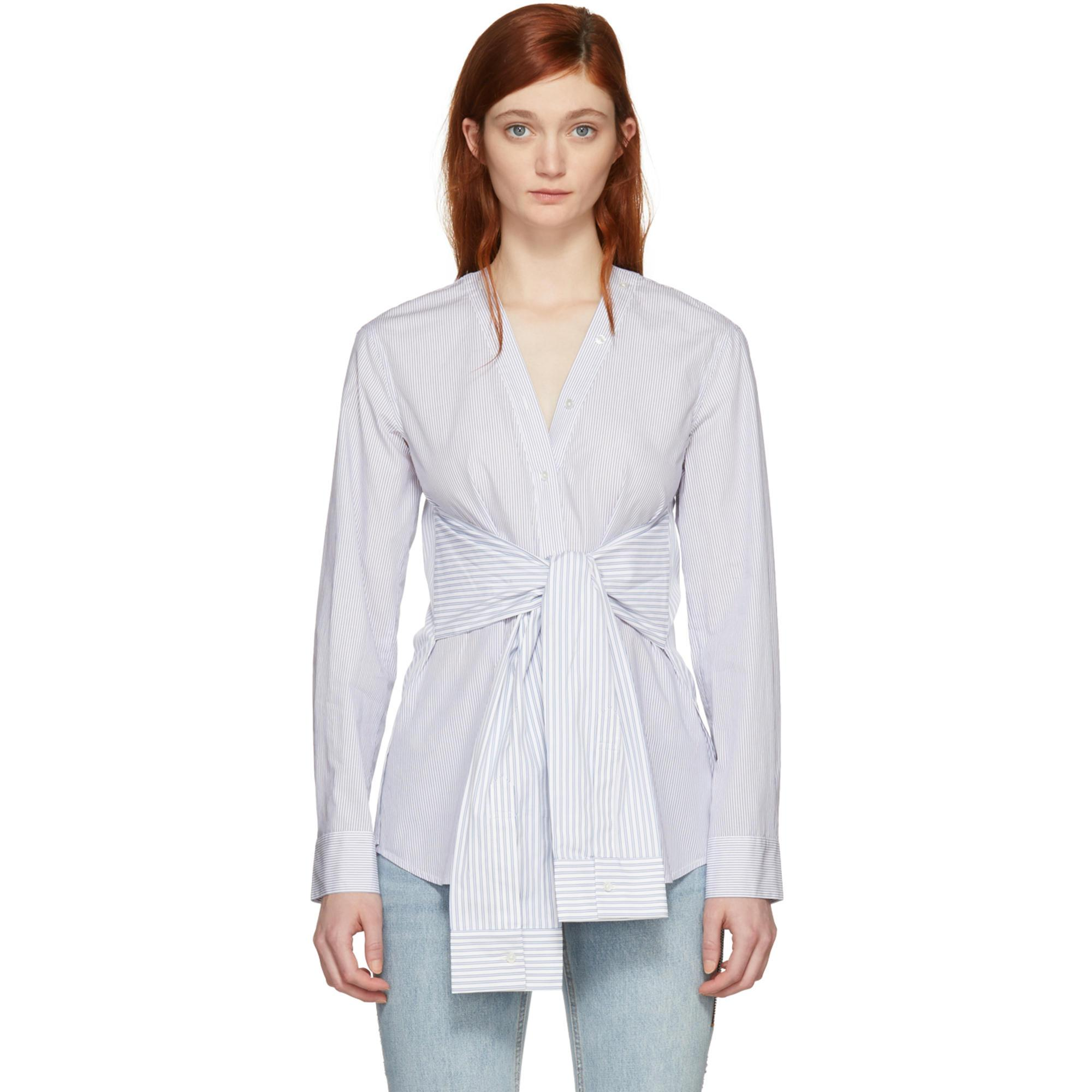 Sale Pre Order White and Blue Multi Stripe Tie Shirt Alexander Wang Cheap 2018 New Very Cheap Online Free Shipping Cheapest Shop Offer Sale Online Jt0icUCj