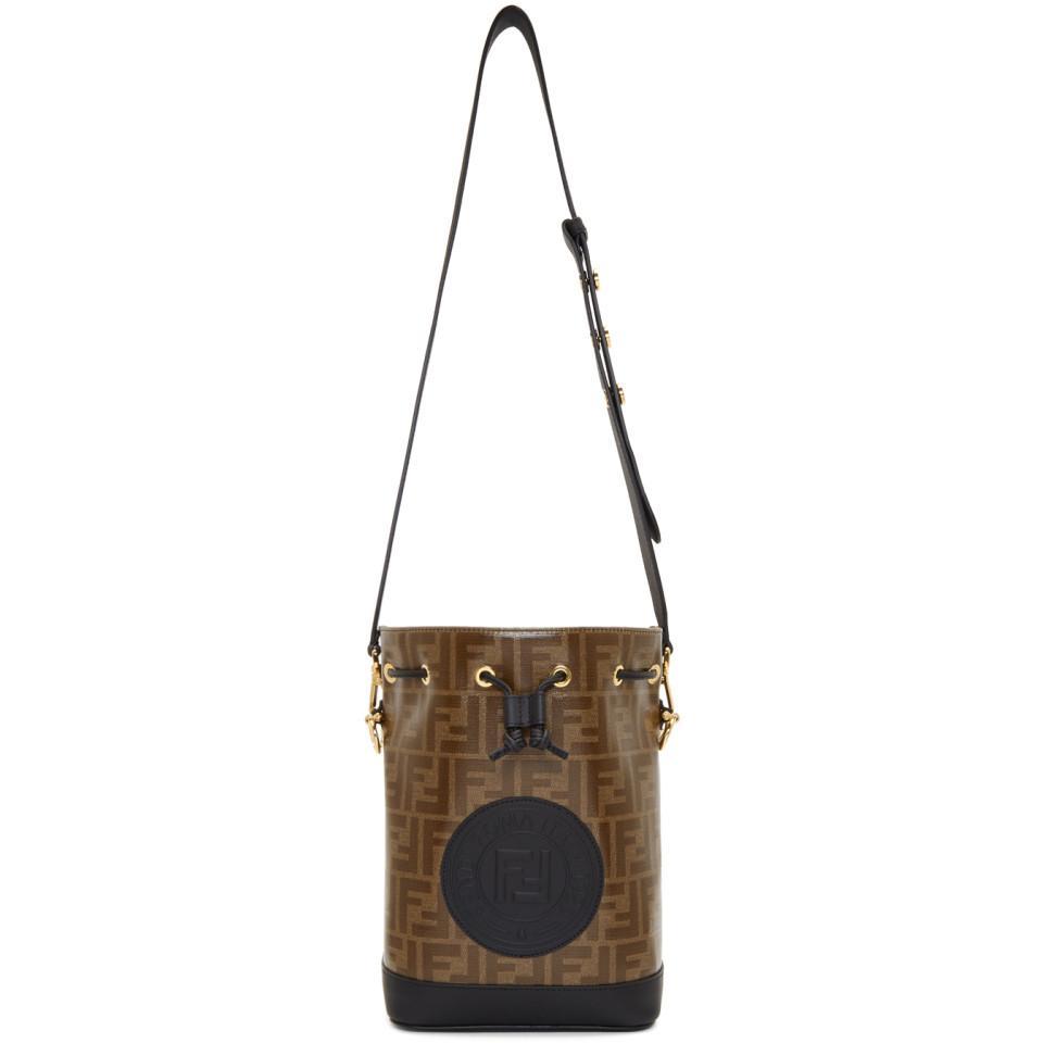 693ae84be773 Fendi Black And Brown Small Forever Mon Tresor Bag in Black - Lyst