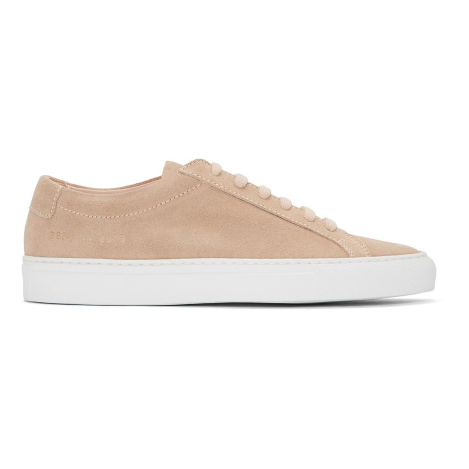 Woman by Common Projects Pink & White Suede Original Achilles Low Sneakers DjNiH