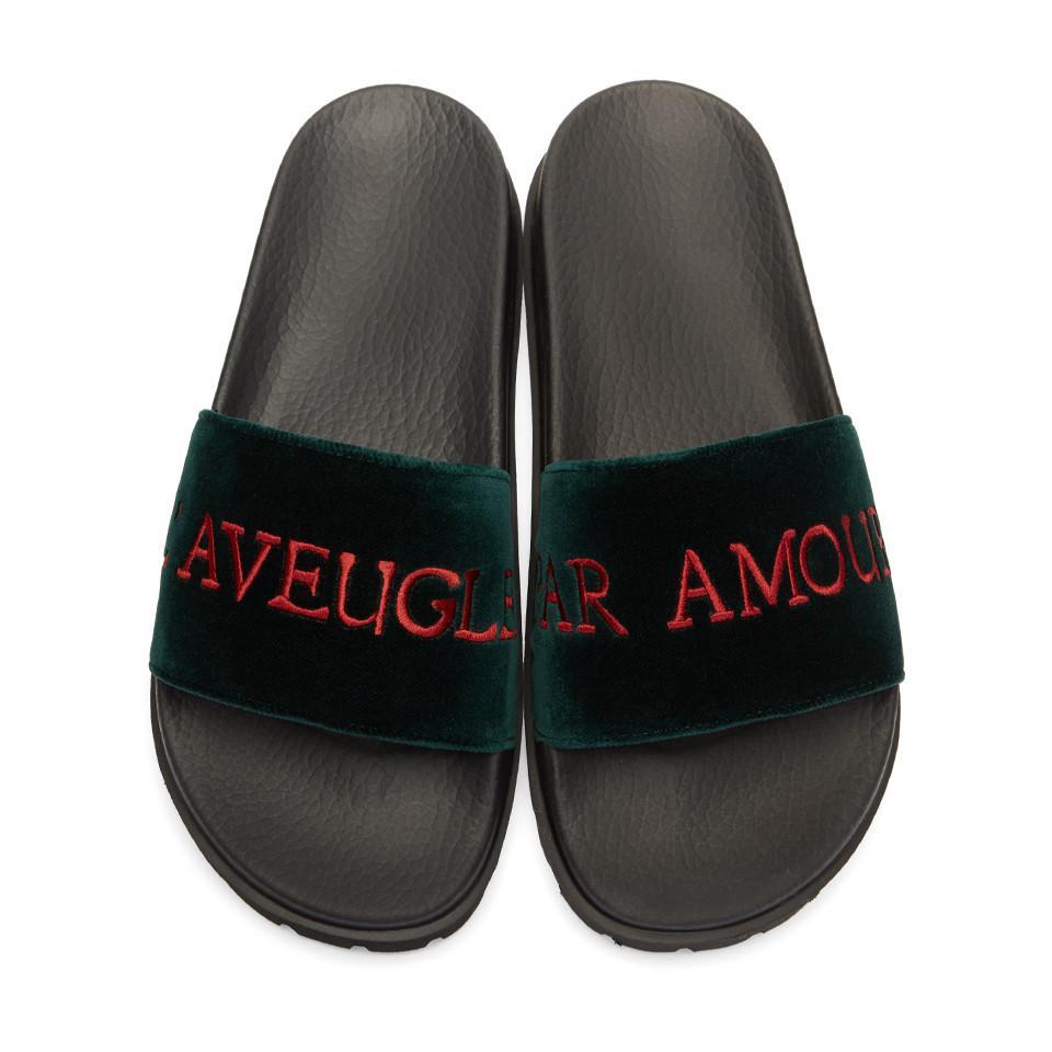 629b63503 Gucci Green Velvet Aveugle Par Amour Pursuit Treck Slides in Green ...