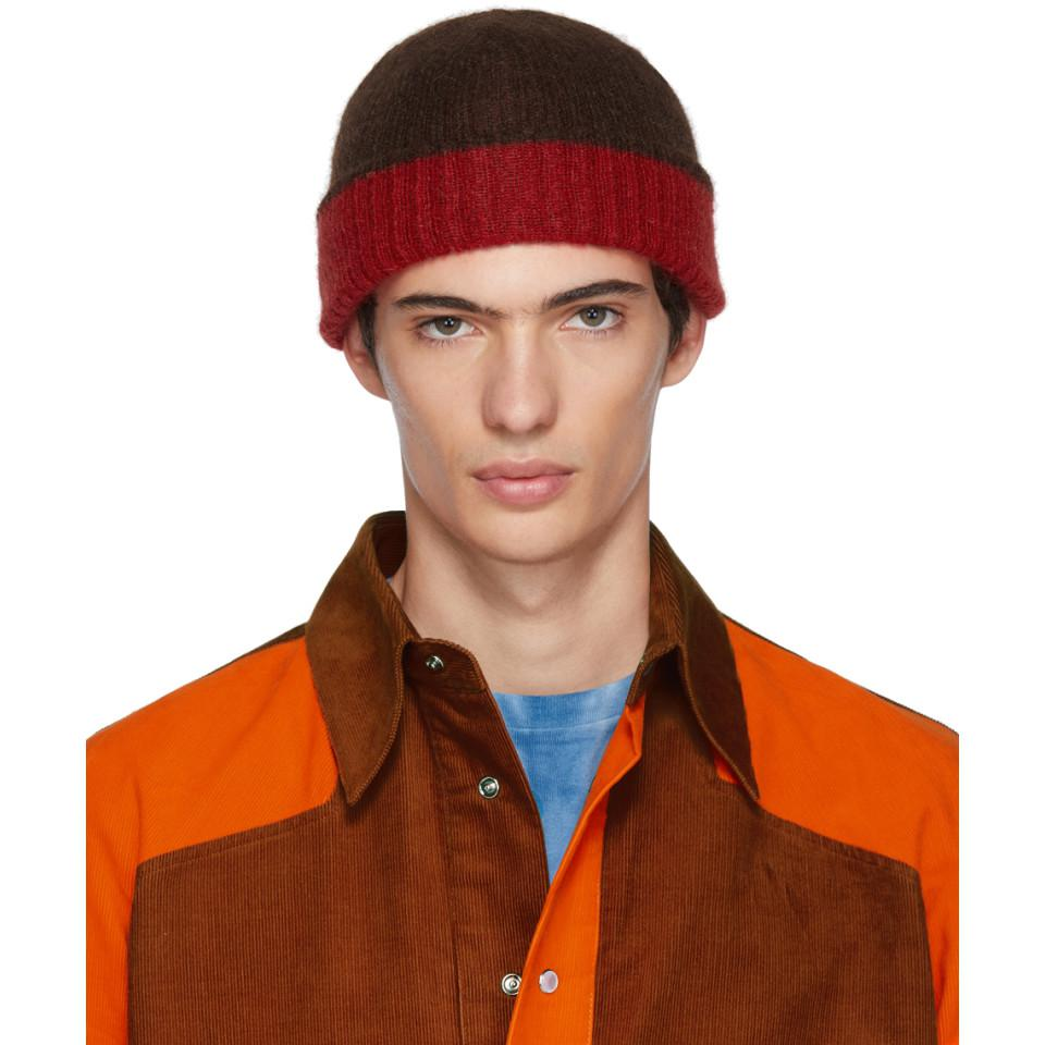 Lyst - Marni Red And Brown Jersey Beanie in Brown for Men d502096ff3c0