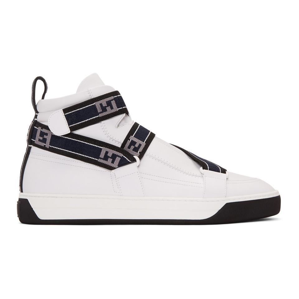 White Forever Fendi Straps High-Top Sneakers Fendi 6QjphAeP