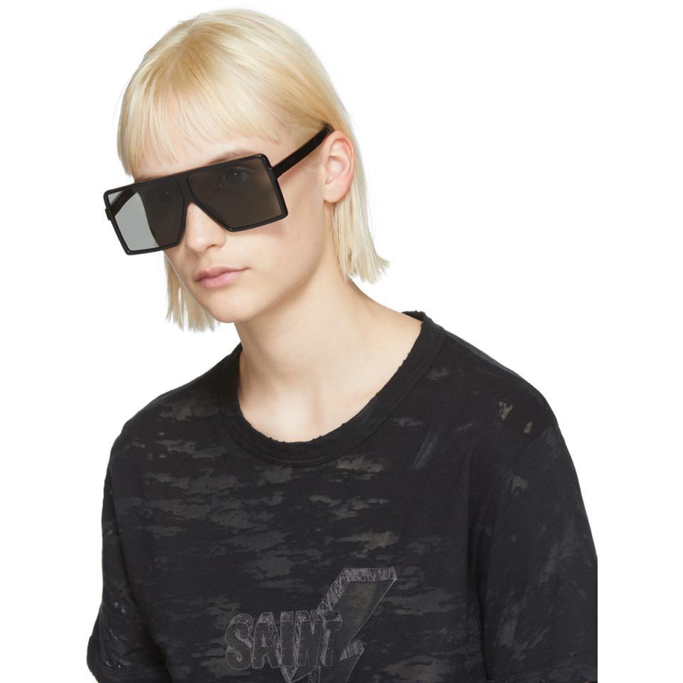Black Small Betty Shield Sunglasses Saint Laurent muB53