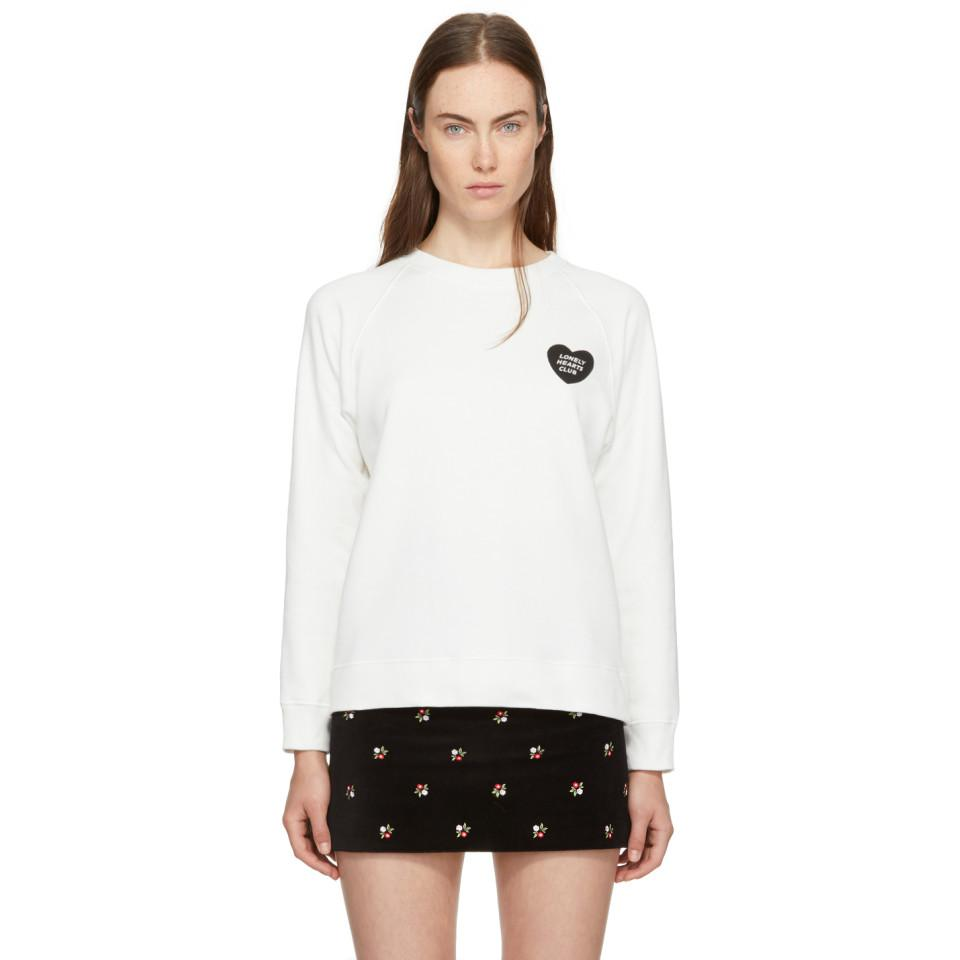 Ivory Lonely Hearts Club Badge Sweatshirt AlexaChung Affordable For Sale Free Shipping Perfect Extremely Online Best Seller Cheap Price High Quality Cheap Online WcwTi