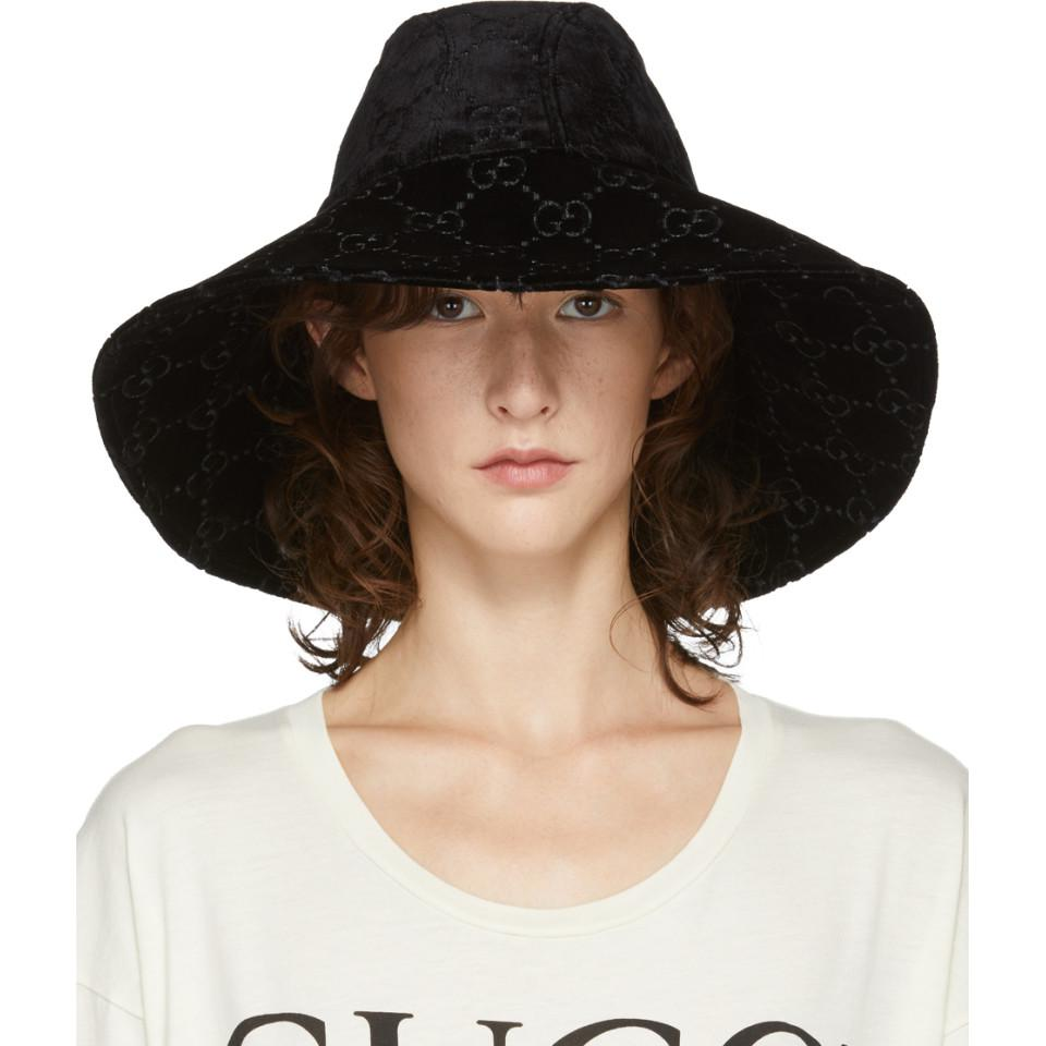 53d8ecbbc Lyst - Gucci Black Velvet GG Supreme Fedora in Black