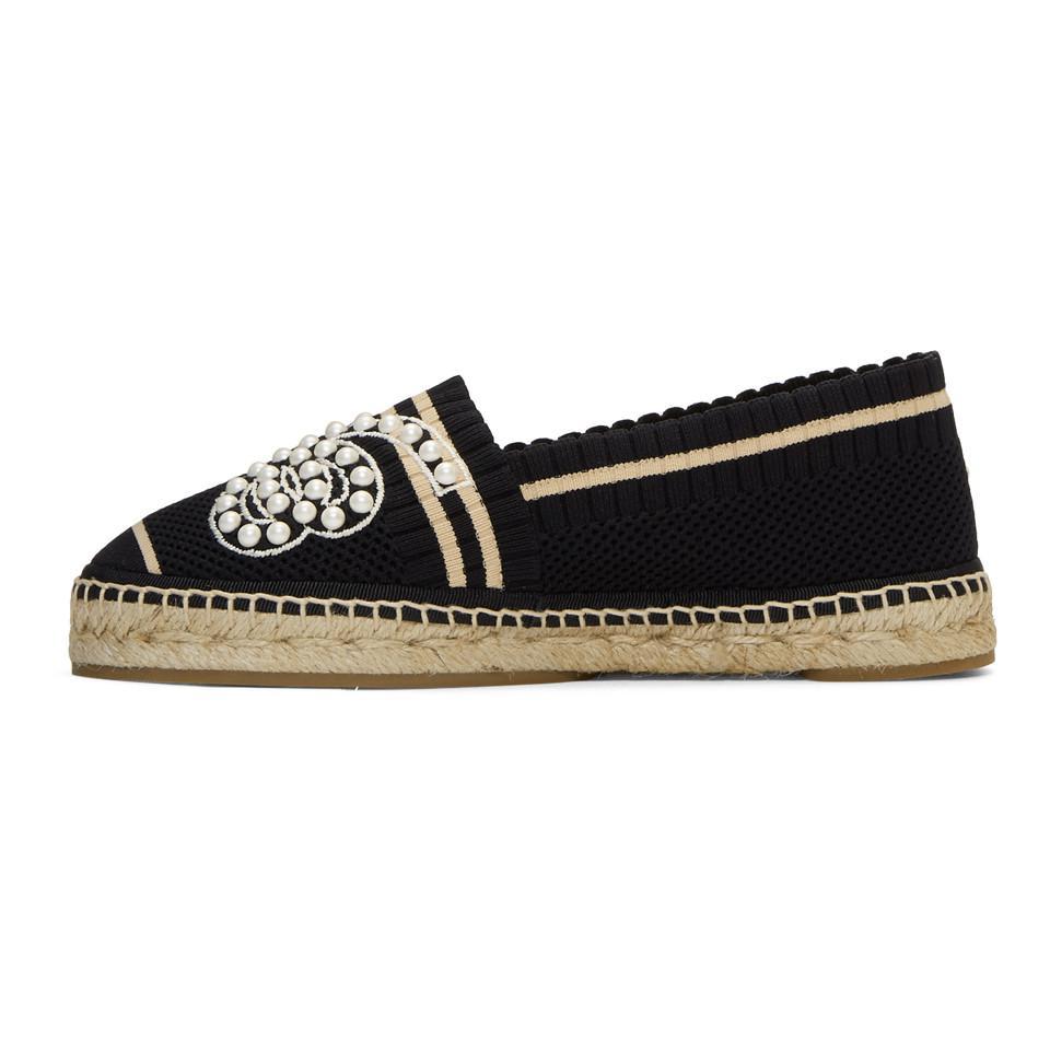 4495224f4 Fendi Black Knit Pearl Espadrilles in Black - Lyst