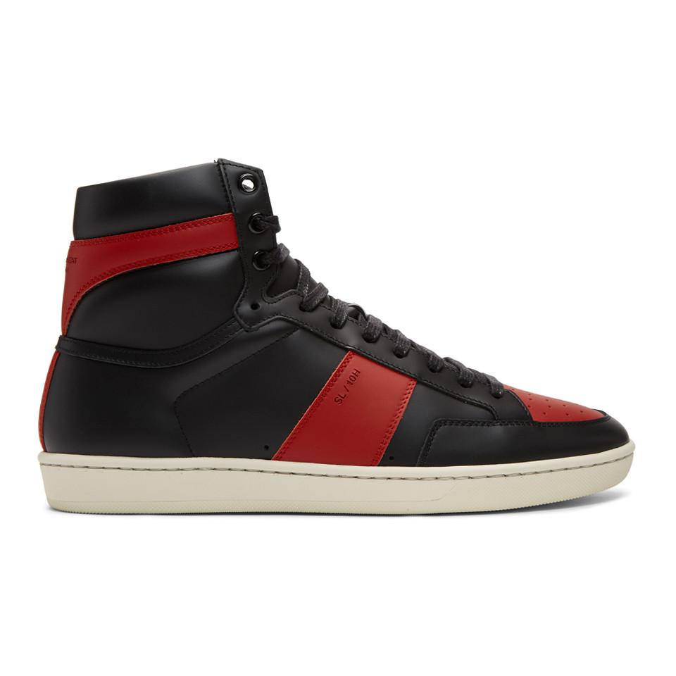 1e27603f824f6 Lyst - Saint Laurent Black And Red Court Classic Sl 10 High-top ...