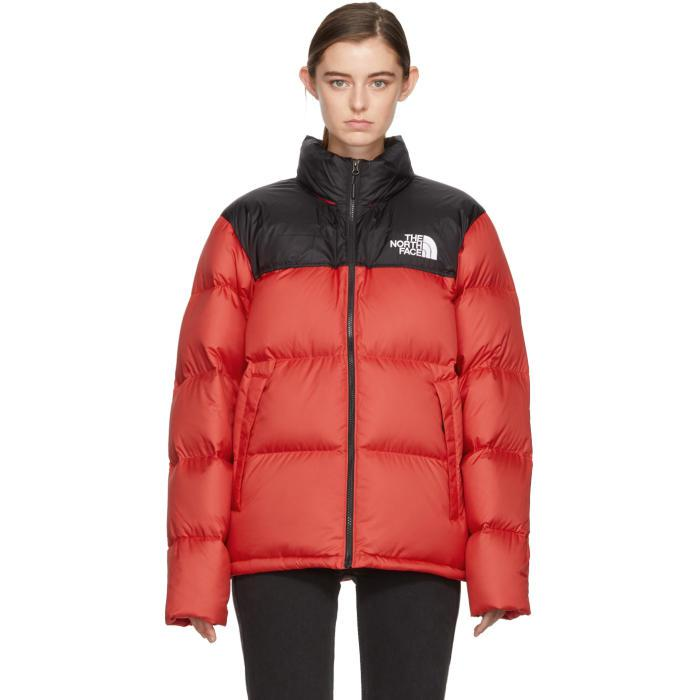 c7b743af71 Lyst - The North Face Red   Black Down Novelty Nuptse Jacket in Red