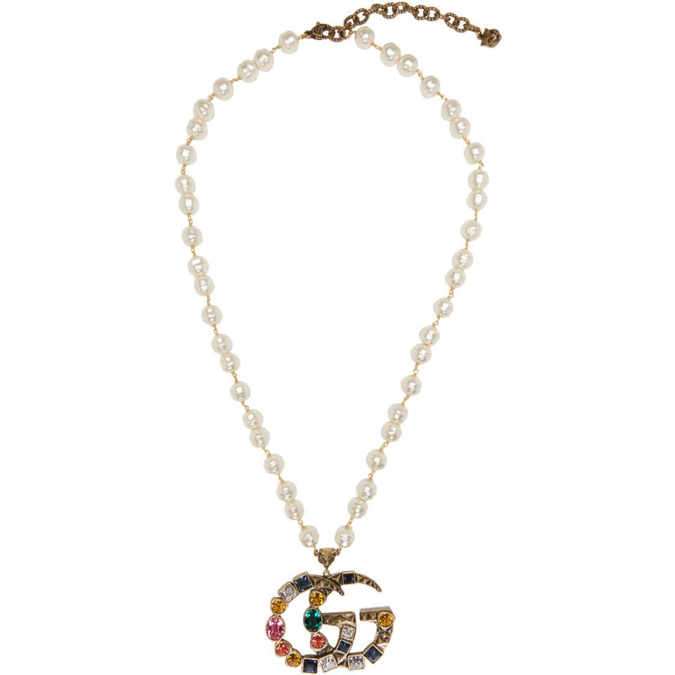 a407068f44a Lyst - Gucci Gold Crystal And Pearl Pendant Necklace in Metallic