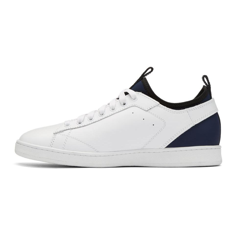 White Leather and Neoprene Sneakers Diesel sp0NO