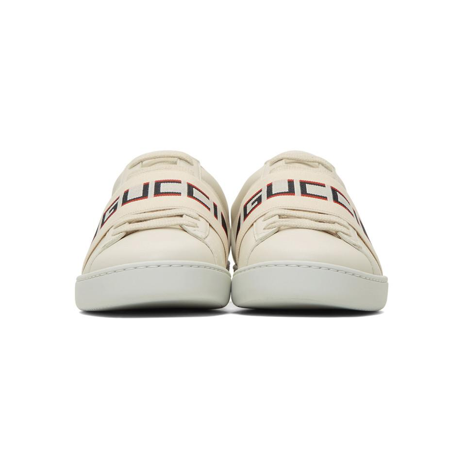 132d712a36d Gucci - White Elastic Band New Ace Sneakers - Lyst. View fullscreen