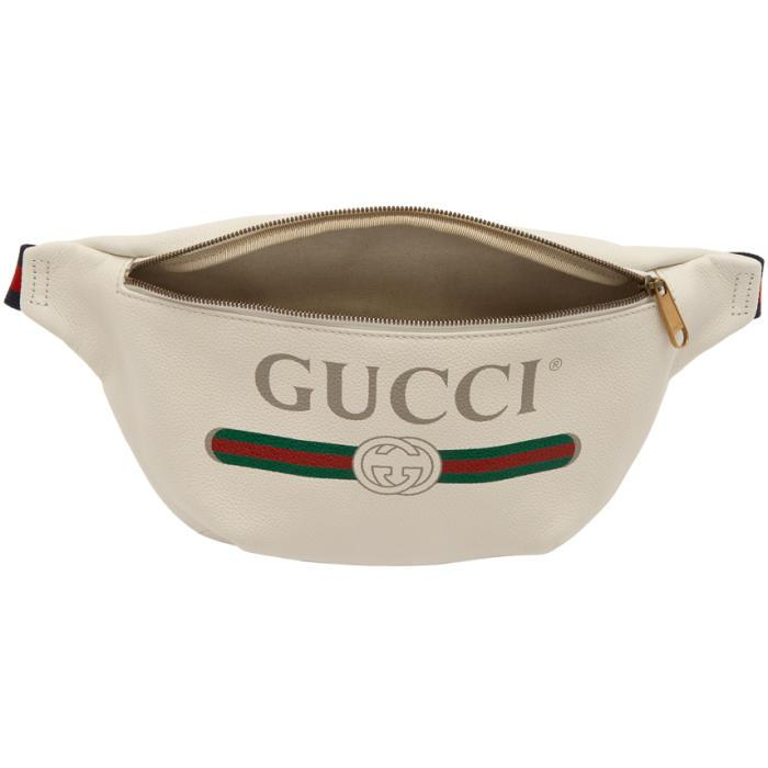 e287aacf35e2 Gucci Off-white Leather Logo Fanny Pack in White - Lyst