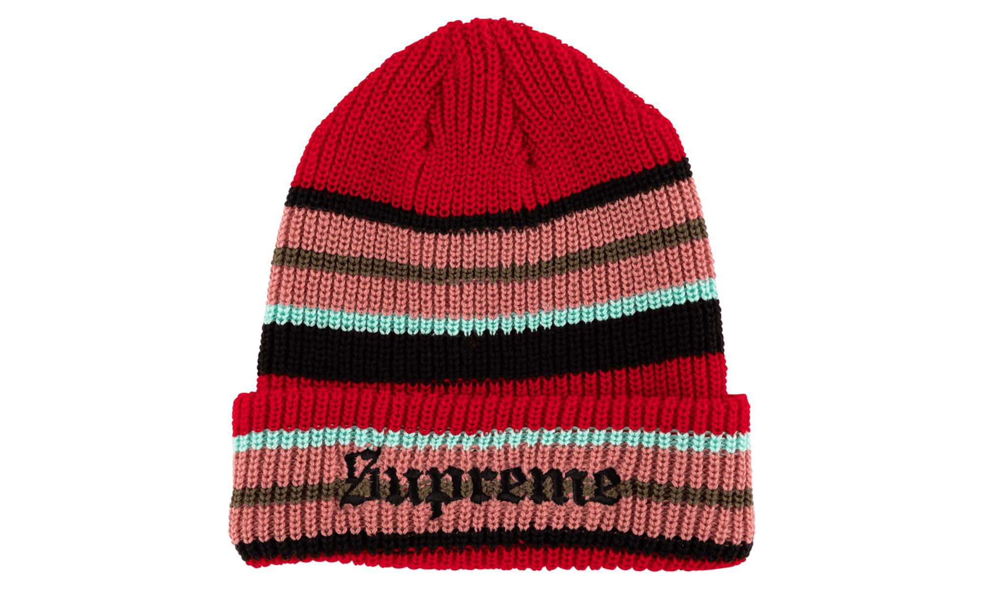 031bb000550 Lyst - Supreme Bright Stripe Beanie in Red