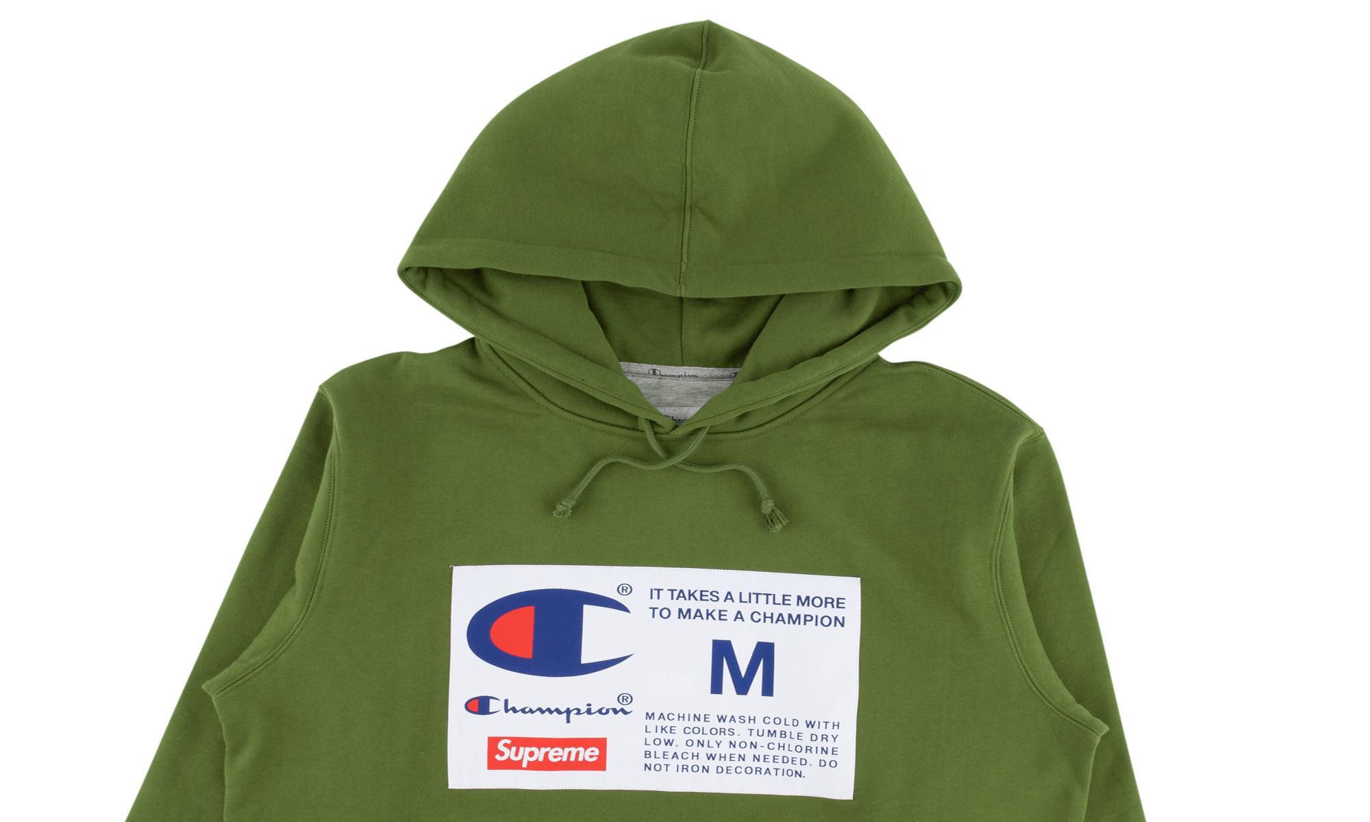 1942d673 Supreme - Green Champion Label Hooded Sweatshi for Men - Lyst. View  fullscreen