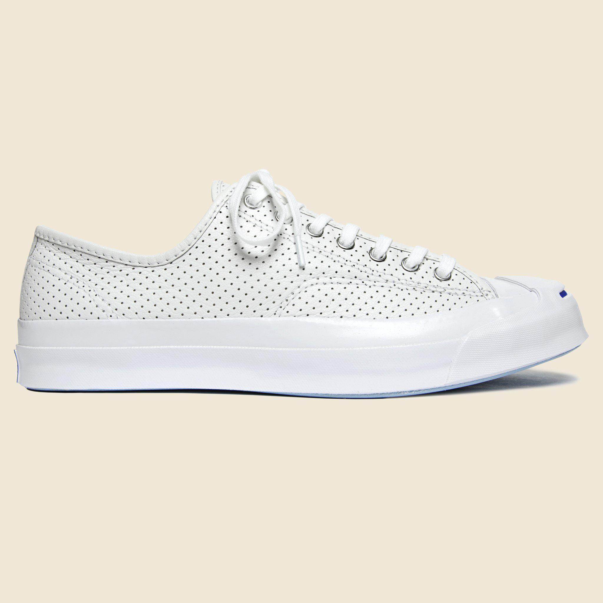 f9f6b654b403b0 Lyst - Converse Jack Purcell Signature Perforated Leather Sneakers ...