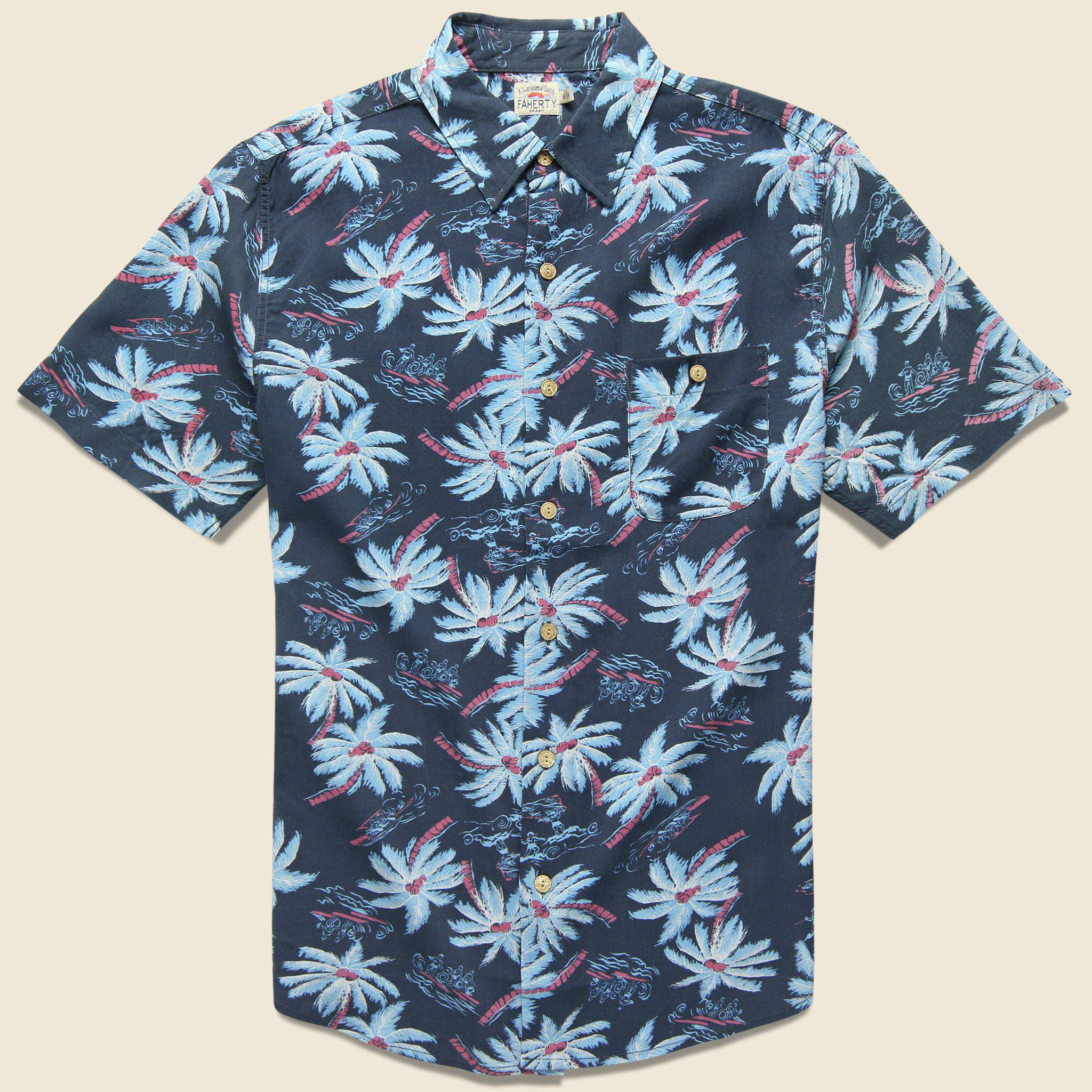 3990a2e5 Faherty Brand Rayon Hawaiian Shirt - Midnight Palm in Blue for Men ...