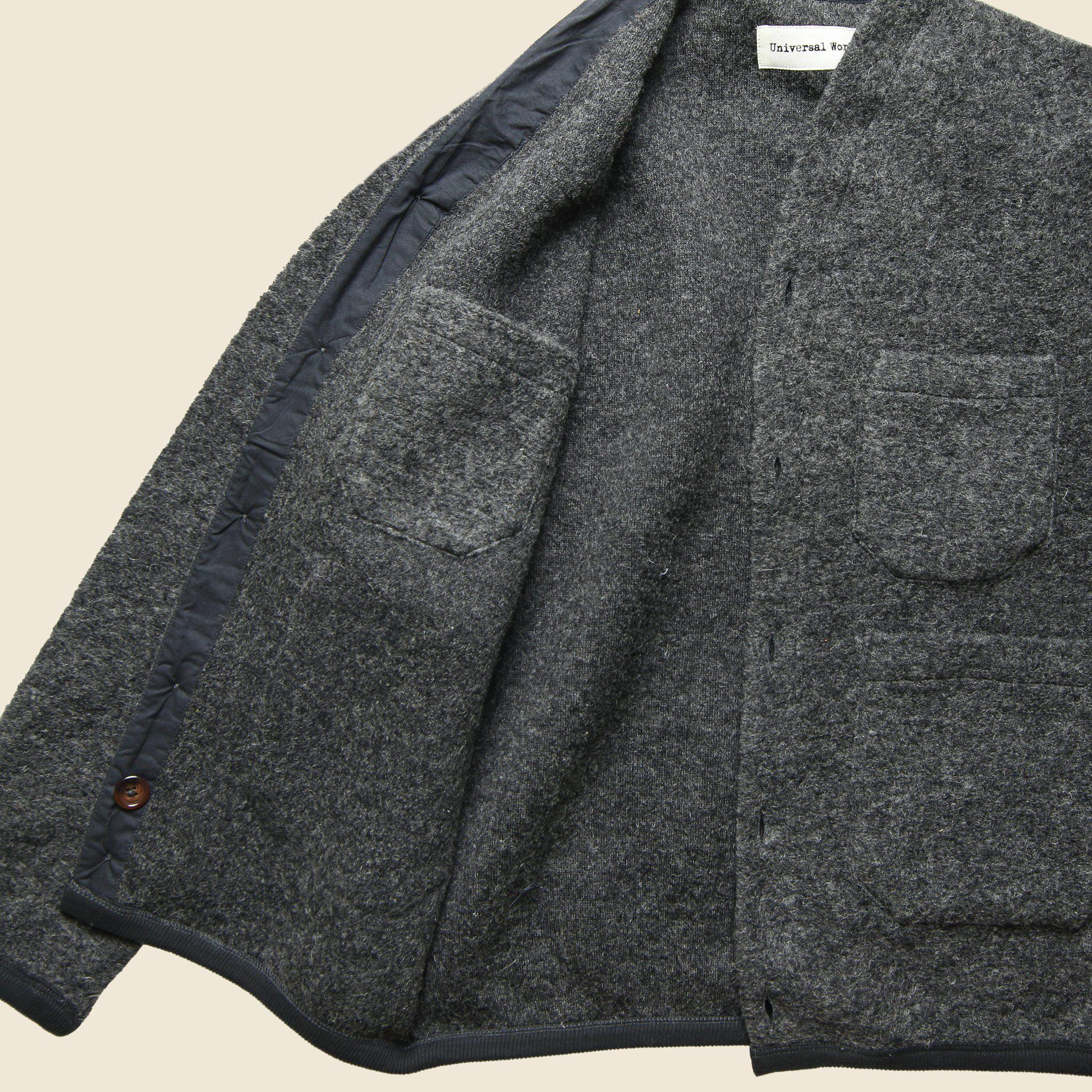 Universal works Wool Fleece Cardigan - Grey in Gray for Men | Lyst