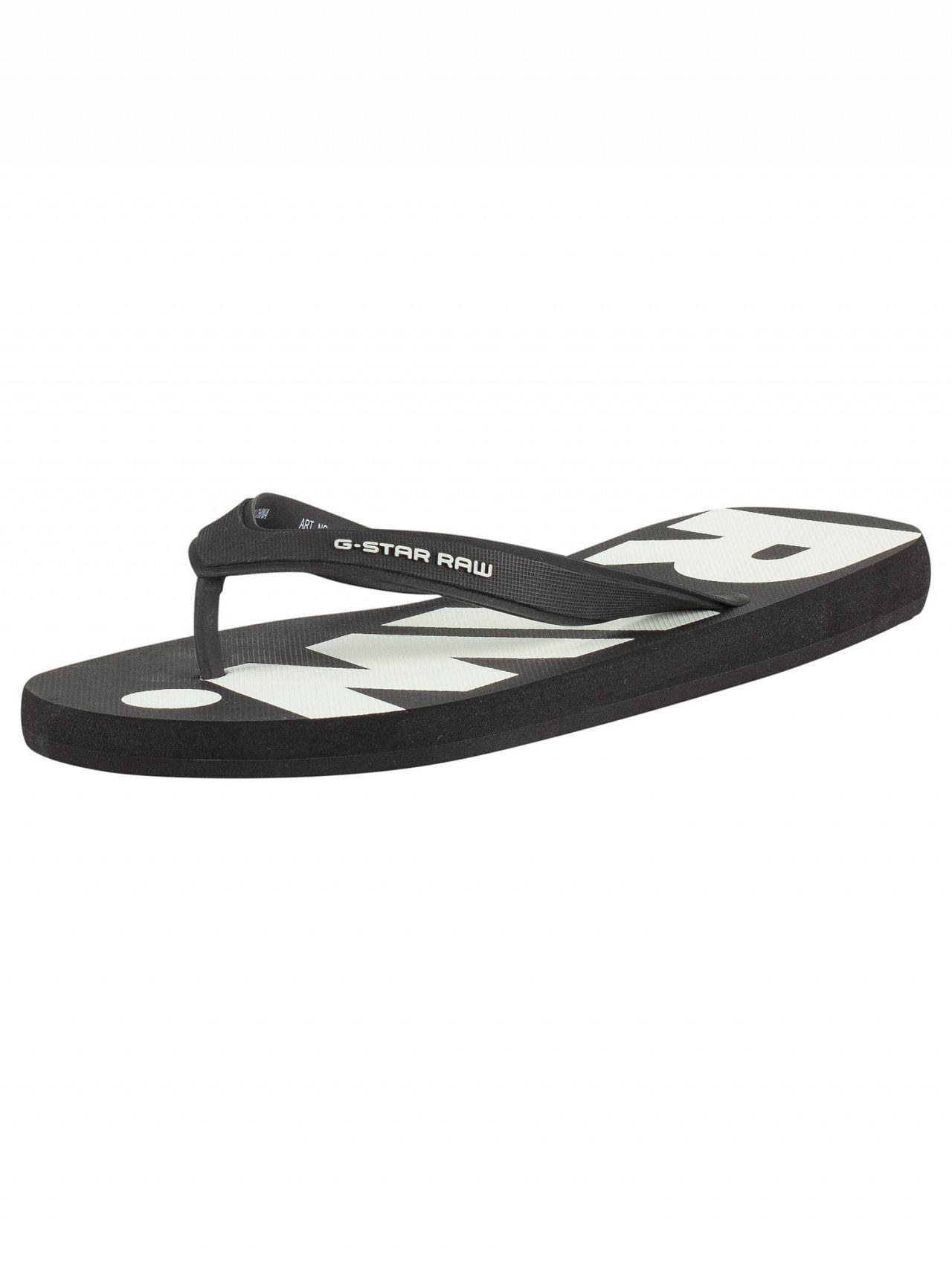 46273fb6db6 Lyst - G-Star RAW Black white Dend Flip Flops in Black for Men ...