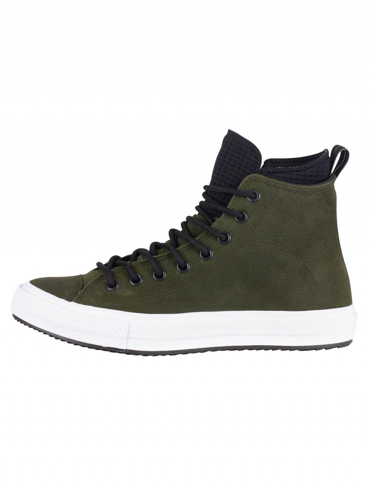 c6f7dc9dd856 Lyst - Converse Utility Green black white Ct All Star Hi Wp Leather ...
