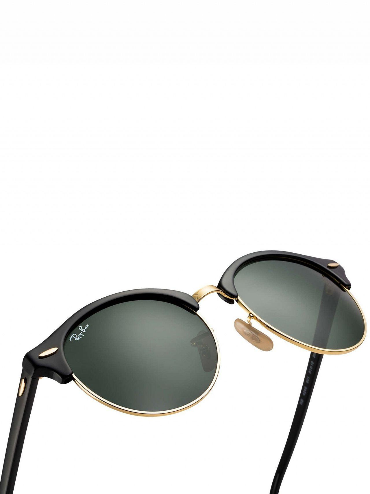 9e15689537 Lyst - Ray-Ban Black Rb4246 Clubround Sunglasses in Black for Men