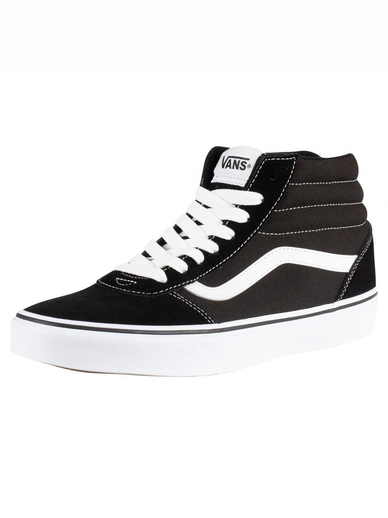 Lyst - Vans Black white Ward Hi Suede Canvas Trainers in Black for ... 37a5a8ffb
