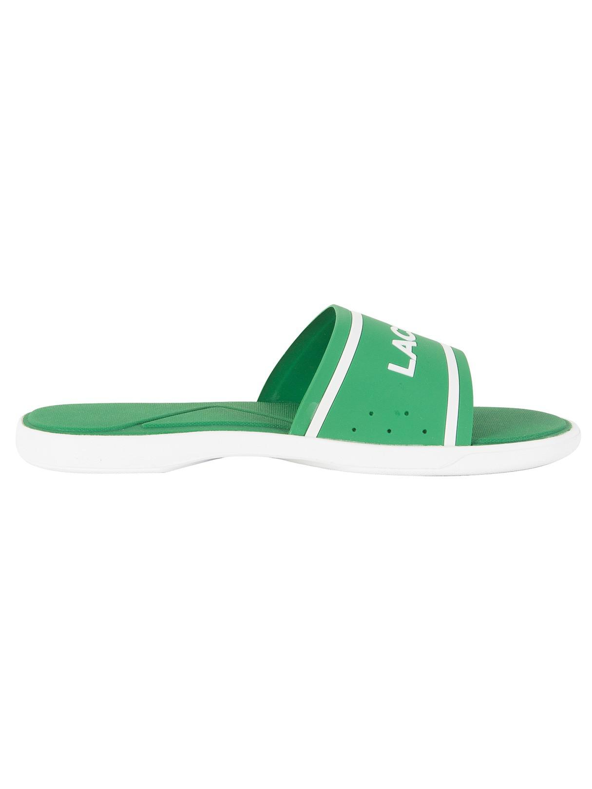 38e233577a33f Lyst - Lacoste Green white L.30 Slide 118 3 Cam Flip Flops in Green ...